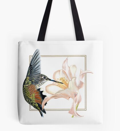 Hummingbird & flower, drawn for Mama Tote Bag