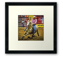 Barrel Racing - Horse and Rider - Fort Worth - Texas Framed Print