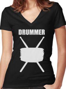 Drummer White Women's Fitted V-Neck T-Shirt