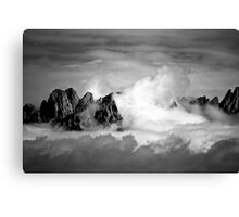 Clouds On The Mountains b&w Canvas Print