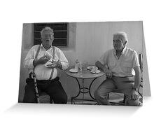 A Gents Morning Tea - Mykonos, Greece Greeting Card