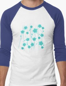 Ice Blue Plum Blossoms Men's Baseball ¾ T-Shirt