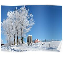 Frosty Iowa Farmstead Poster
