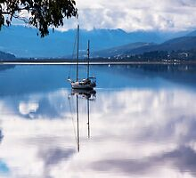 Huon River Clouds and Reflections by jayneeldred