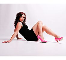 Stephanie in a Short Black Dress and Pink Shoes Photographic Print