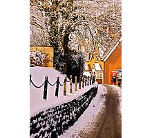Village 'Main Street' In December Snow Photographic Print