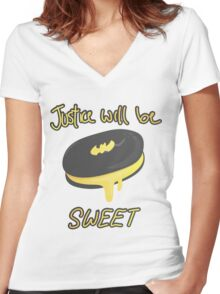 Justice Will Be Sweet! Batman Icecream Bar Women's Fitted V-Neck T-Shirt