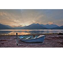 Blue Boat at Loch Duich Photographic Print