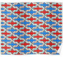Red Blue Pastel Sequin Duvet Poster