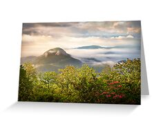 Looking Glass Rock at Sunrise w/ Fog - Blue Ridge Parkway Greeting Card