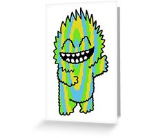 Happy Cutie Blue Green & Yellow Greeting Card