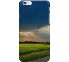 Crepuscular rays 1 - canola, rural Saskatchewan iPhone Case/Skin