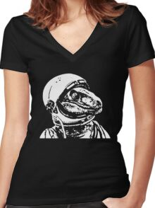Space Dinosaur Velociraptor Astronaut Women's Fitted V-Neck T-Shirt