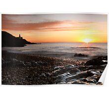 Sunrise - over Bracelet Bay, Swansea, Wales Poster