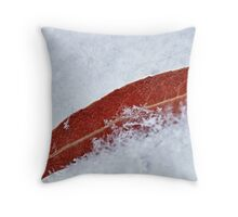 red leaf on snow HDR Throw Pillow