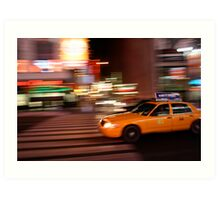 Yellow Taxi in Times Square Art Print