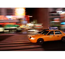 Yellow Taxi in Times Square Photographic Print