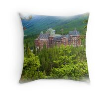 Banff Springs Hotel - Digital Oil-painting Throw Pillow