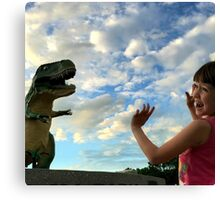The World's Largest Dinosaur is Out to Get Me! Canvas Print