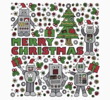 Merry Christmas Robots Kids Tee
