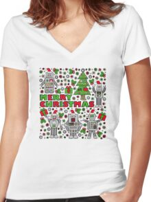 Merry Christmas Robots Women's Fitted V-Neck T-Shirt
