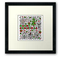 Merry Christmas Robots Framed Print