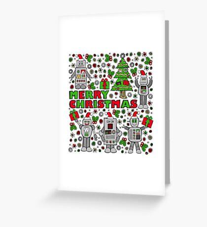 Merry Christmas Robots Greeting Card