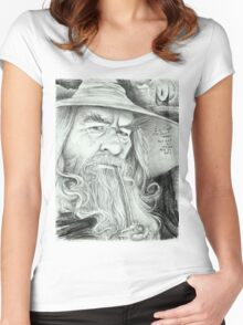 'Gandalf' gourmet caricature by Sheik Women's Fitted Scoop T-Shirt