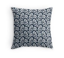 Navy Vintage Wallpaper Style Flower Patterns Throw Pillow