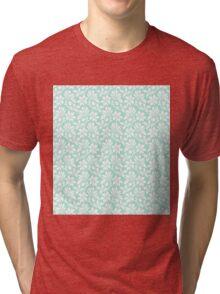 Mint Vintage Wallpaper Style Flower Patterns Tri-blend T-Shirt