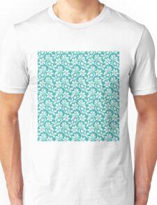 Teal Vintage Wallpaper Style Flower Patterns Unisex T-Shirt