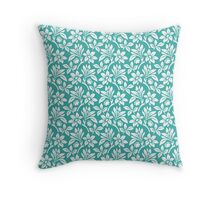 Teal Vintage Wallpaper Style Flower Patterns Throw Pillow