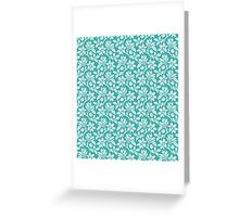 Teal Vintage Wallpaper Style Flower Patterns Greeting Card