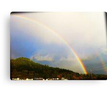Raw Rainbow Over Town Canvas Print