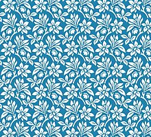 Blue Vintage Wallpaper Style Flower Patterns by ImageNugget