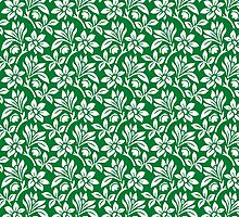 Green Vintage Wallpaper Style Flower Patterns by ImageNugget