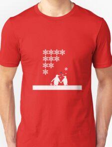 Penguin Couple Red Heart Love Snow T-Shirt