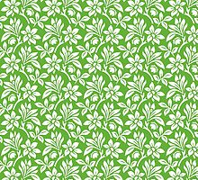 Grass Green Vintage Wallpaper Style Flower Patterns by ImageNugget