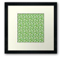 Grass Green Vintage Wallpaper Style Flower Patterns Framed Print