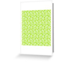 Lime Green Vintage Wallpaper Style Flower Patterns Greeting Card