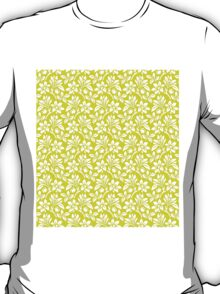 Chartreuse Vintage Wallpaper Style Flower Patterns T-Shirt