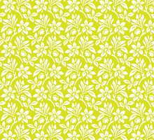 Chartreuse Vintage Wallpaper Style Flower Patterns by ImageNugget