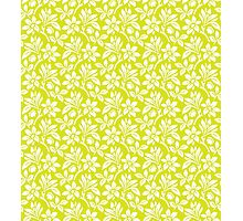 Chartreuse Vintage Wallpaper Style Flower Patterns Photographic Print