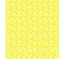 Yellow Vintage Wallpaper Style Flower Patterns Photographic Print