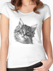Maine Coon kitten G114 Women's Fitted Scoop T-Shirt