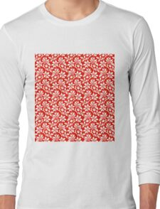 Red Vintage Wallpaper Style Flower Patterns Long Sleeve T-Shirt