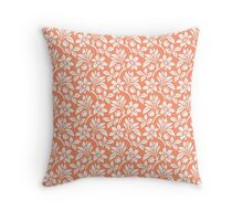 Coral Vintage Wallpaper Style Flower Patterns Throw Pillow