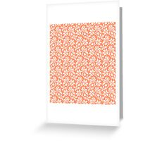 Coral Vintage Wallpaper Style Flower Patterns Greeting Card