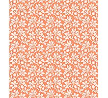 Coral Vintage Wallpaper Style Flower Patterns Photographic Print