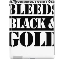 the insurance policy clerk bleeds black and gold iPad Case/Skin